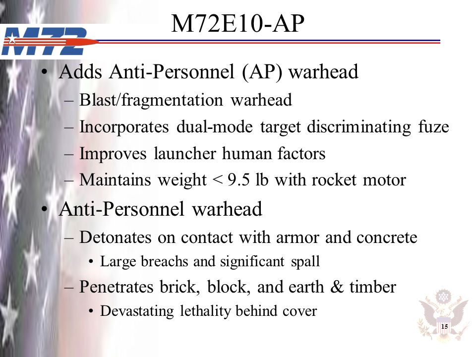 M72E10-AP Adds Anti-Personnel (AP) warhead Anti-Personnel warhead