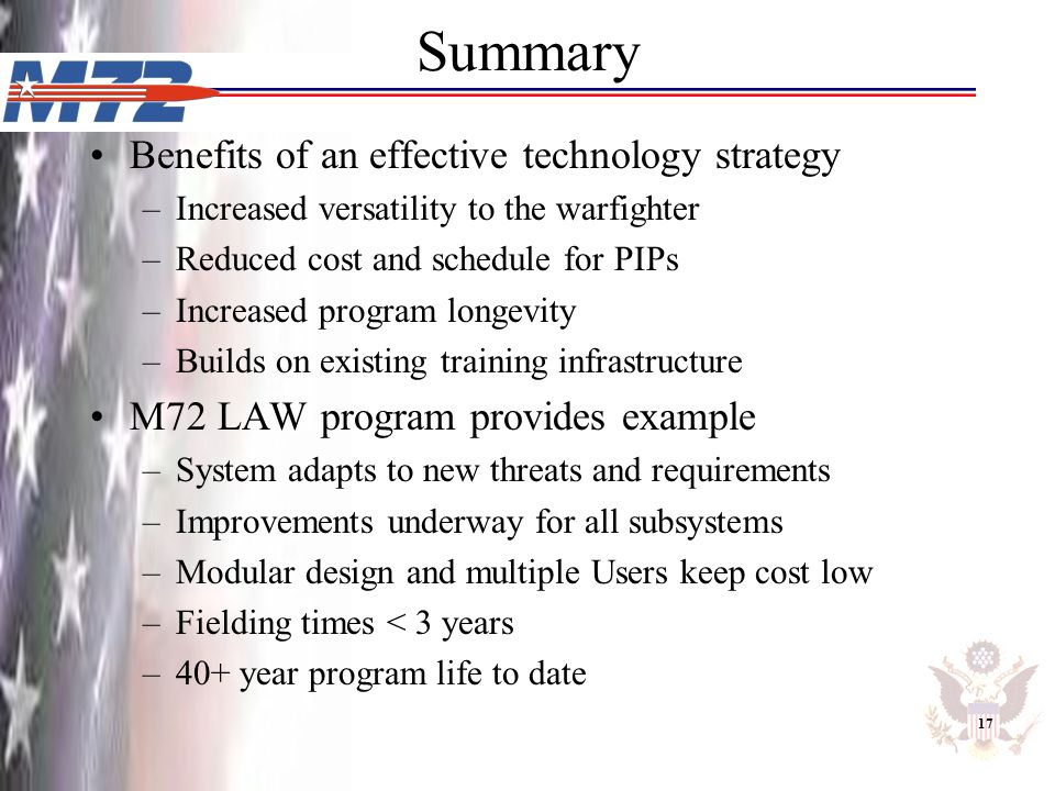 Summary Benefits of an effective technology strategy