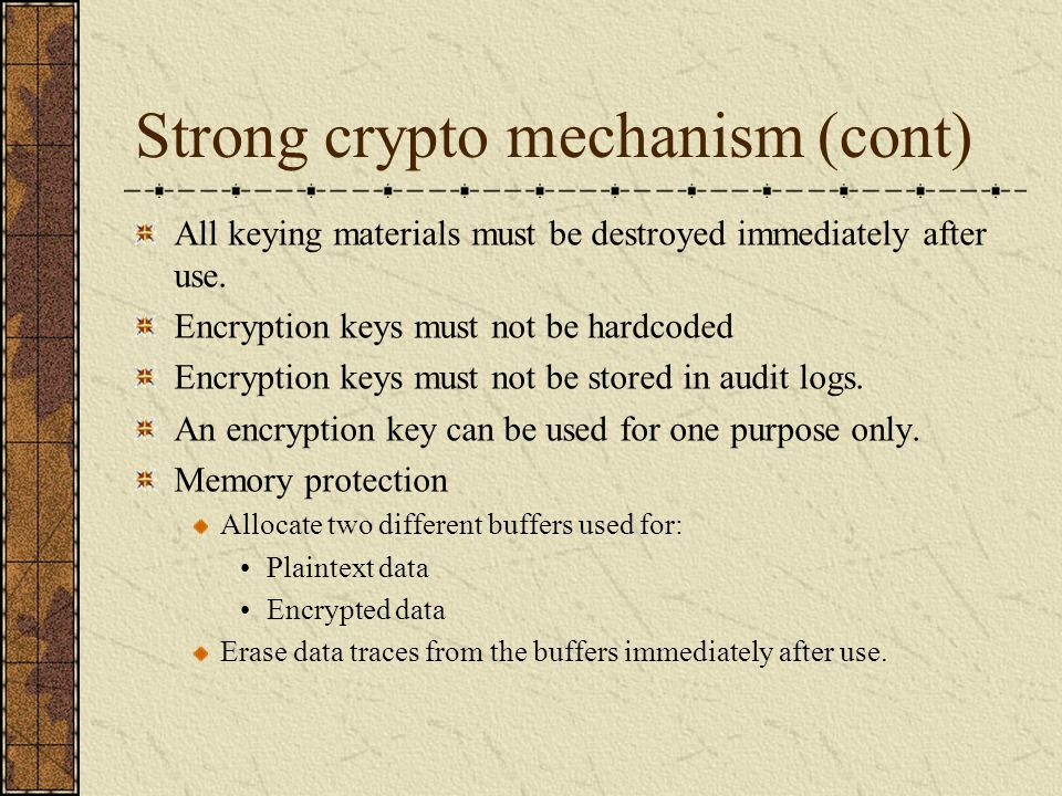 Strong crypto mechanism (cont)