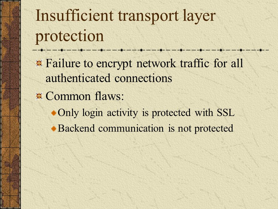 Insufficient transport layer protection
