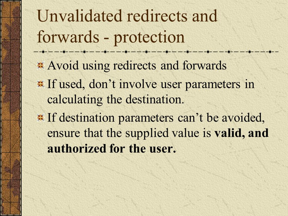 Unvalidated redirects and forwards - protection