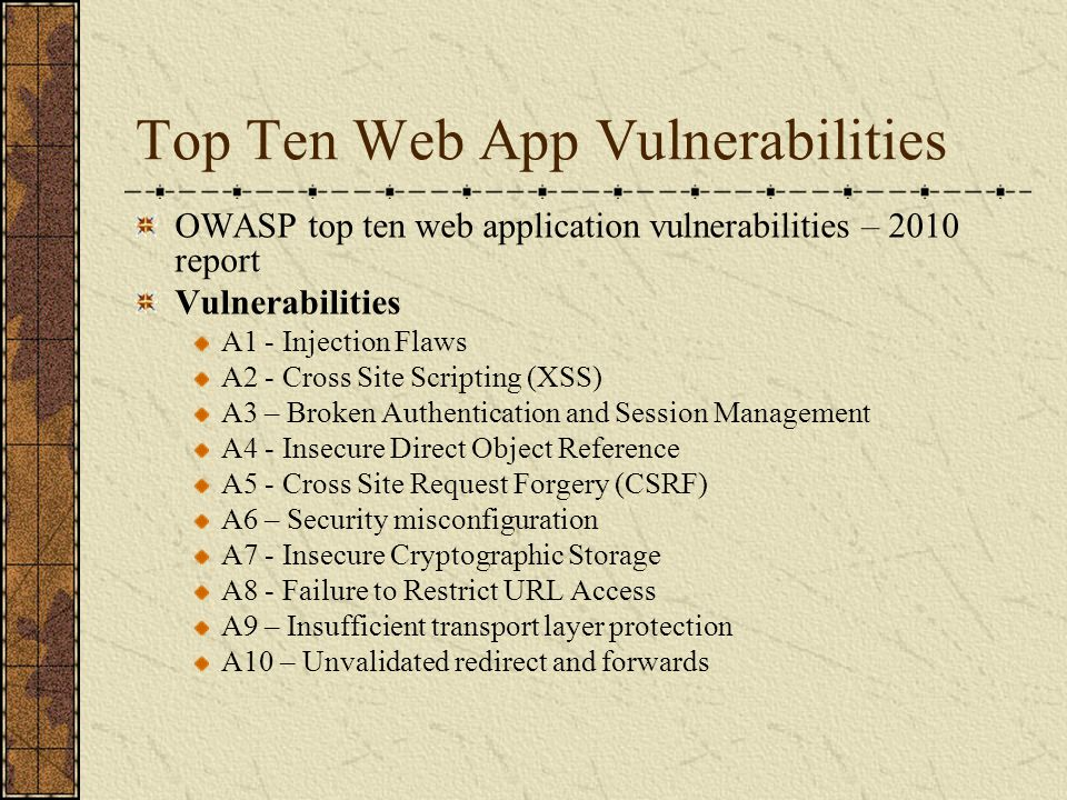 Top Ten Web App Vulnerabilities
