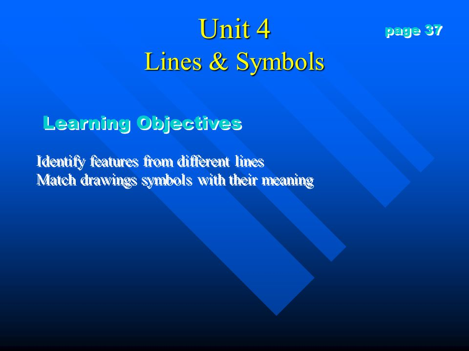 Unit 4 Lines & Symbols Learning Objectives