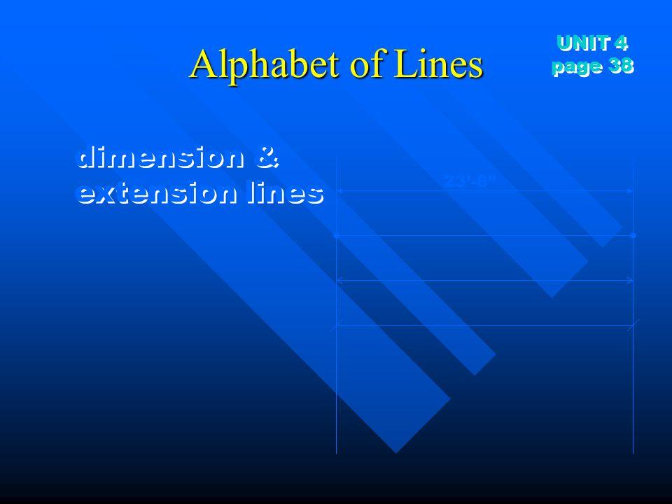 Alphabet of Lines UNIT 4 page 38 dimension & extension lines 23'-6