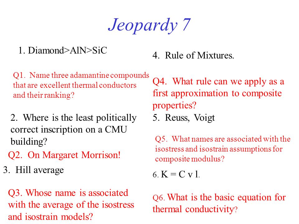 Jeopardy 7 1. Diamond>AlN>SiC 4. Rule of Mixtures.
