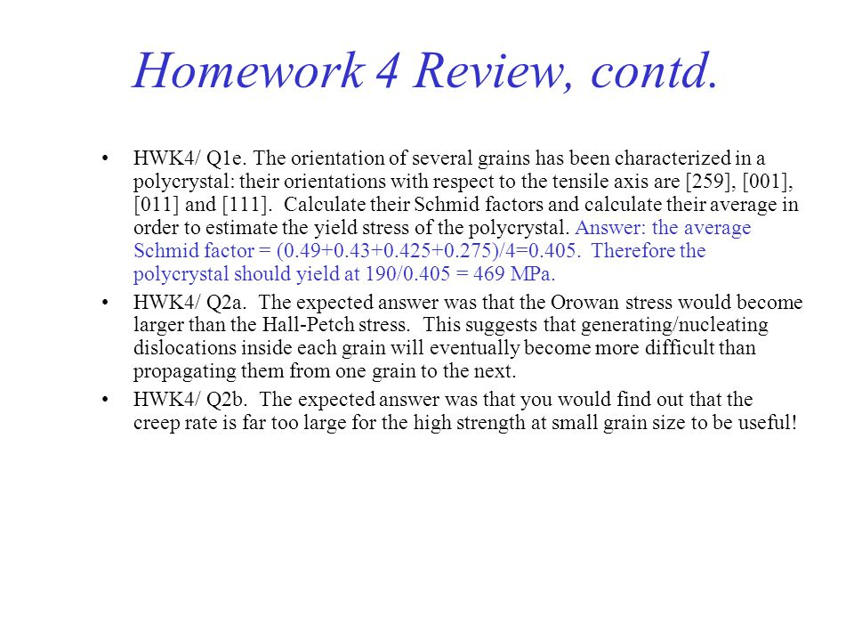 Homework 4 Review, contd.