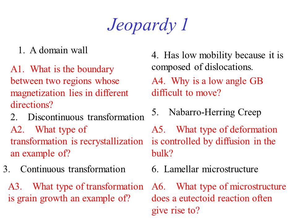 Jeopardy 1 1. A domain wall. 4. Has low mobility because it is composed of dislocations.