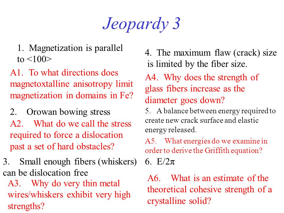 Jeopardy 3 1. Magnetization is parallel to <100>