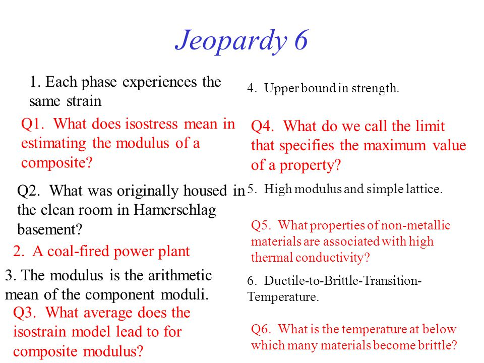 Jeopardy 6 1. Each phase experiences the same strain