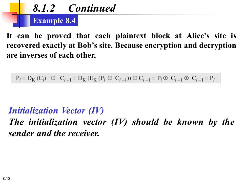 8.1.2 Continued Initialization Vector (IV)