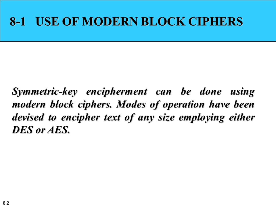 8-1 USE OF MODERN BLOCK CIPHERS
