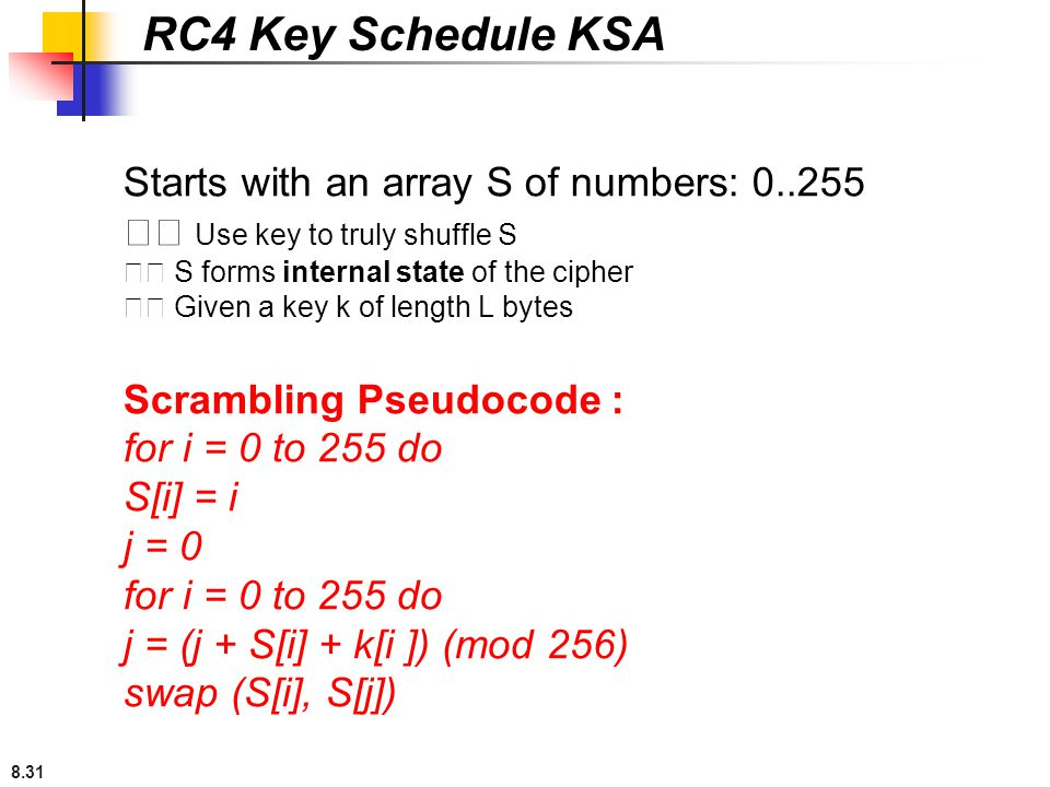 RC4 Key Schedule KSA Starts with an array S of numbers: 0..255
