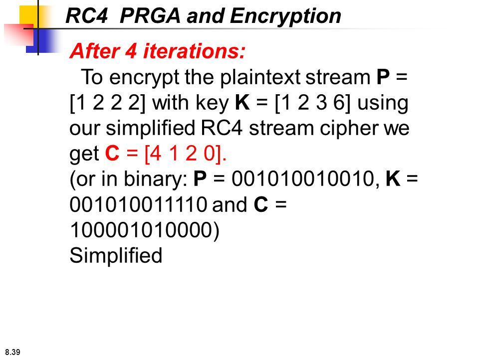 RC4 PRGA and Encryption After 4 iterations: