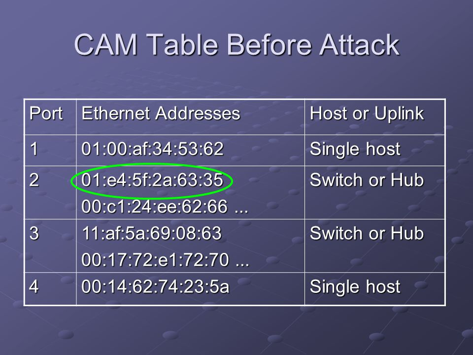 CAM Table Before Attack