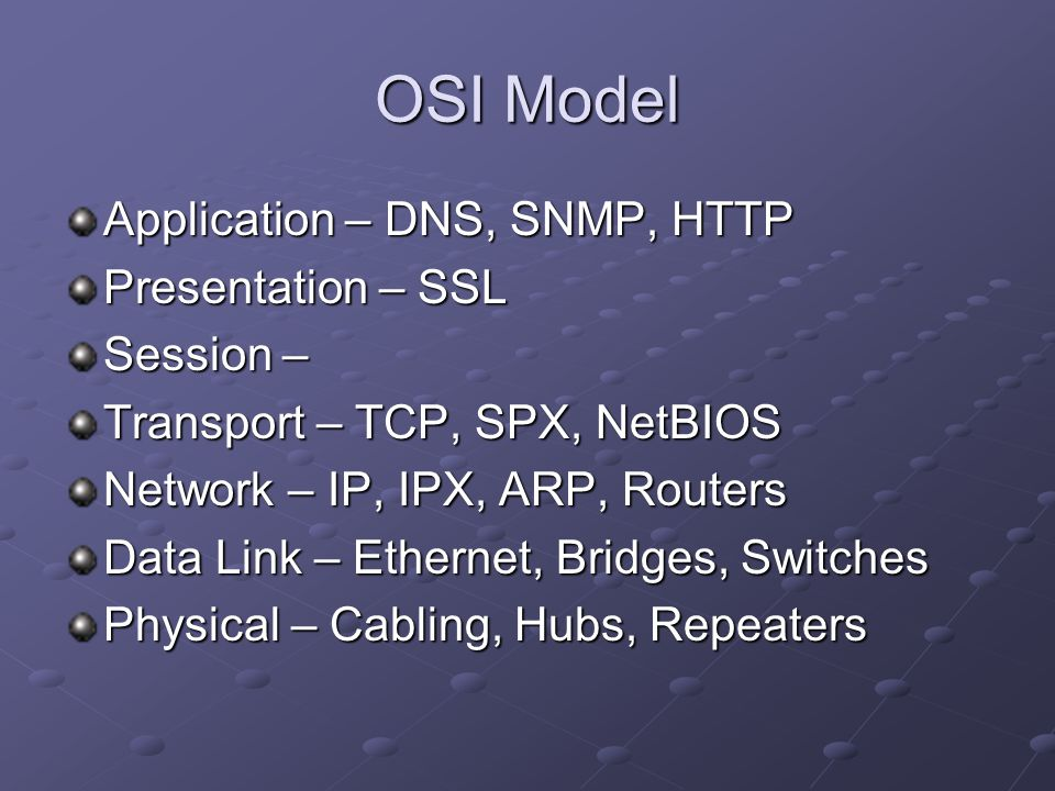 OSI Model Application – DNS, SNMP, HTTP Presentation – SSL Session –