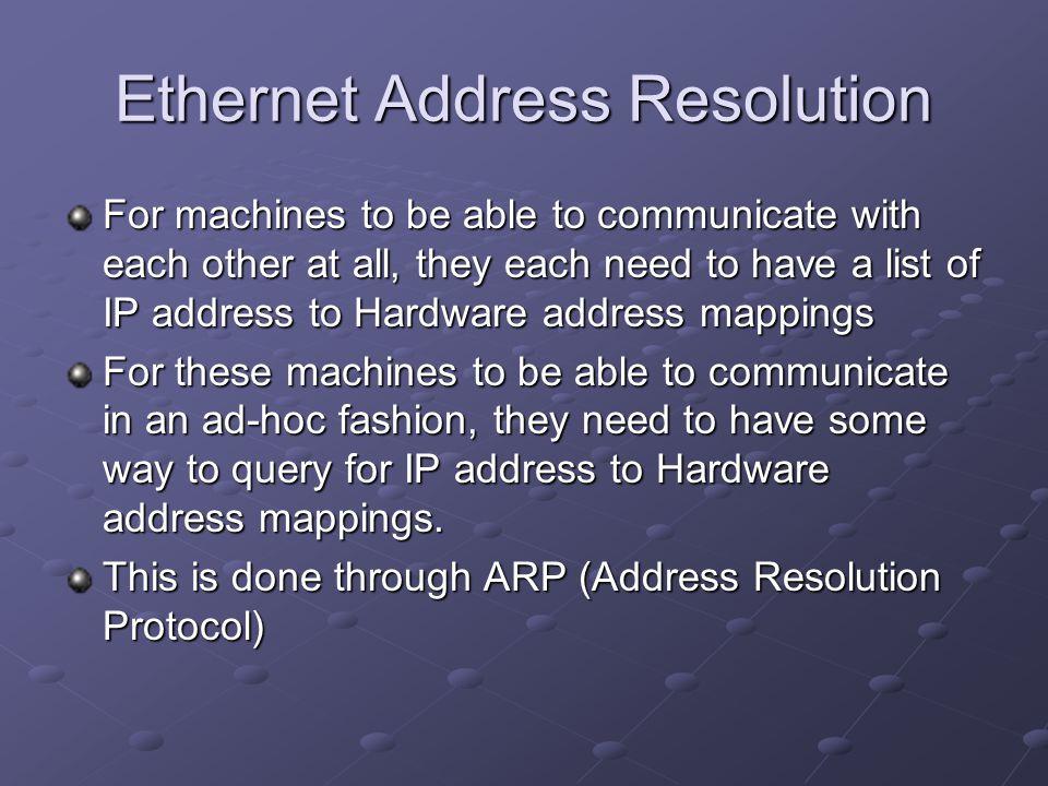 Ethernet Address Resolution