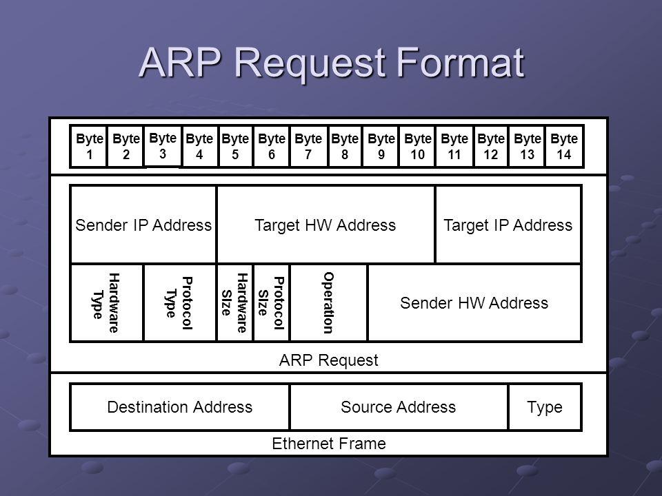ARP Request Format Ethernet Frame ARP Request Sender IP Address