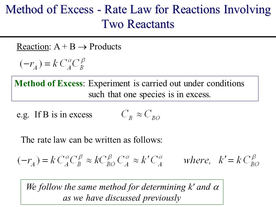Method of Excess - Rate Law for Reactions Involving Two Reactants
