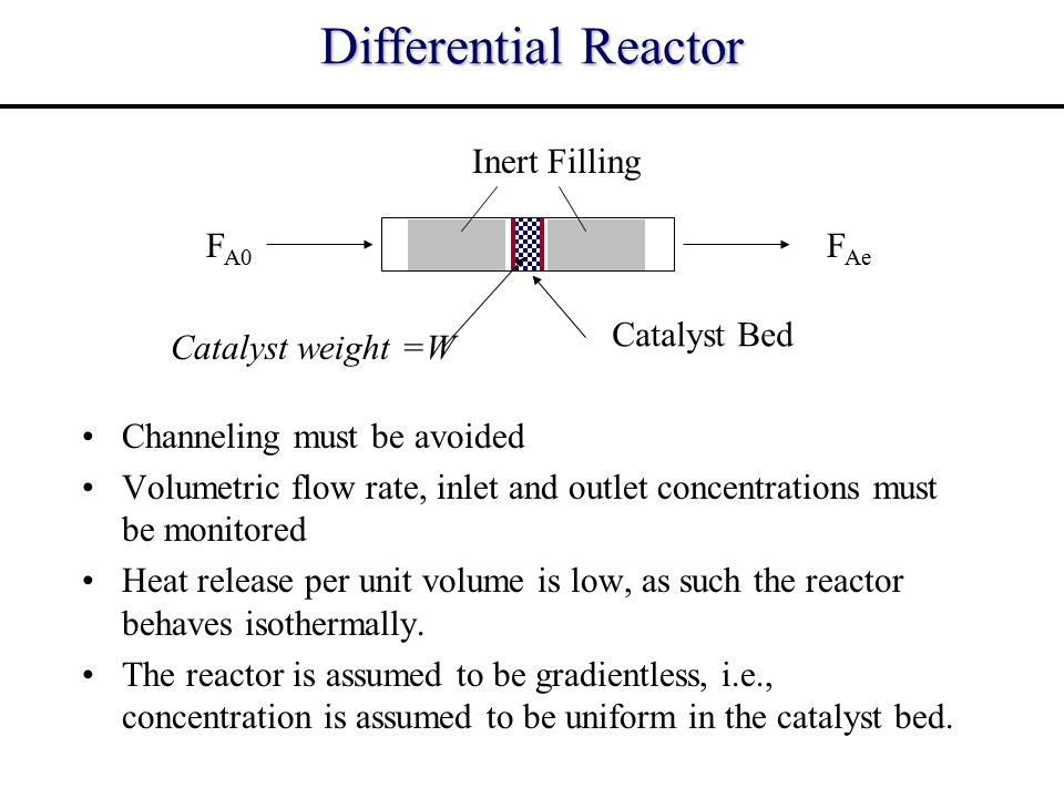 Differential Reactor FA0 FAe Catalyst Bed Inert Filling