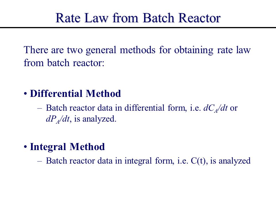 Rate Law from Batch Reactor