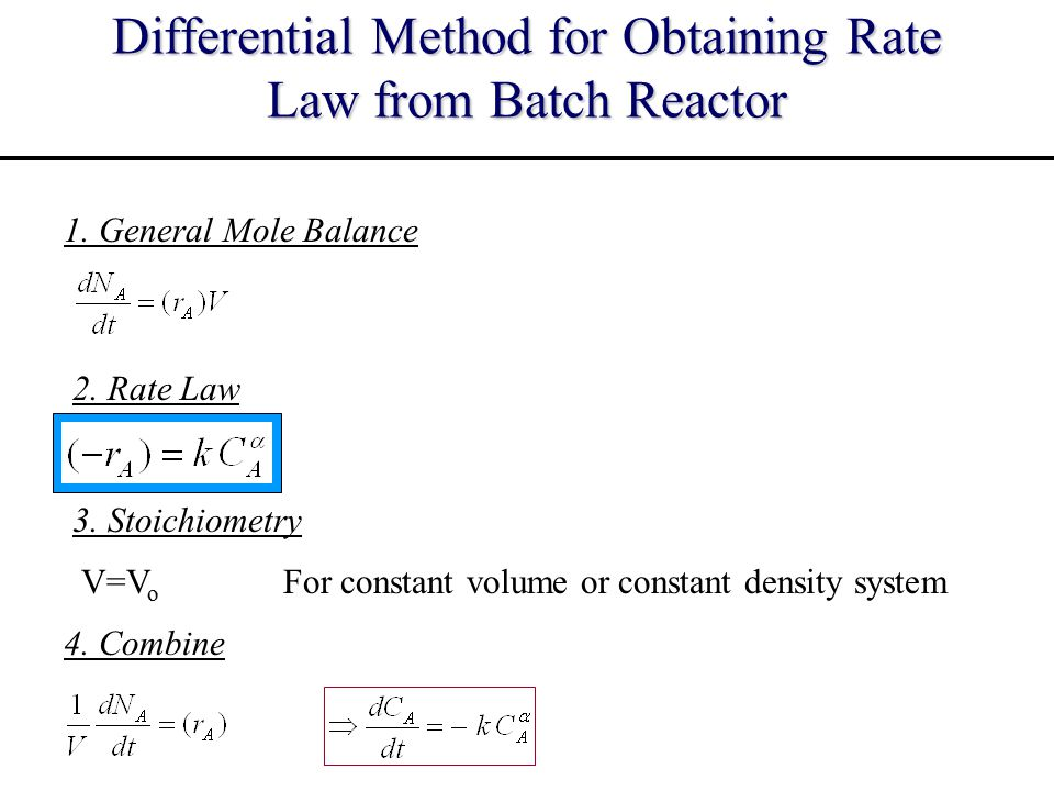 Differential Method for Obtaining Rate Law from Batch Reactor
