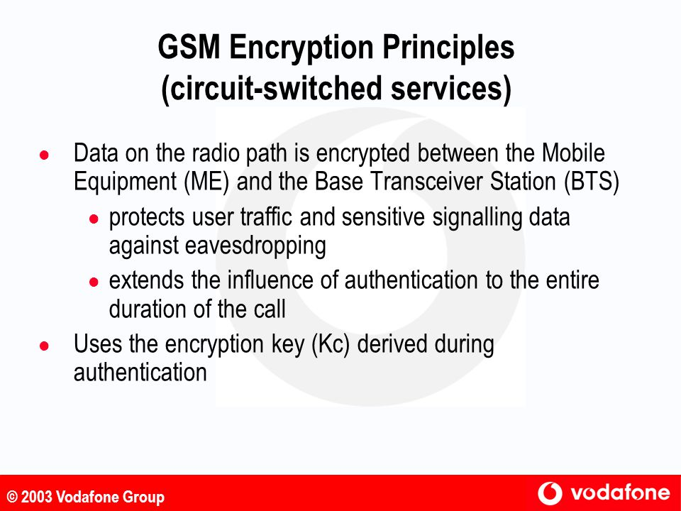 GSM Encryption Principles (circuit-switched services)