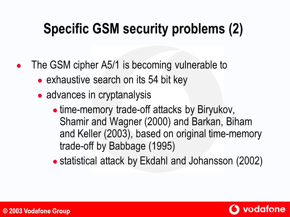 Specific GSM security problems (2)
