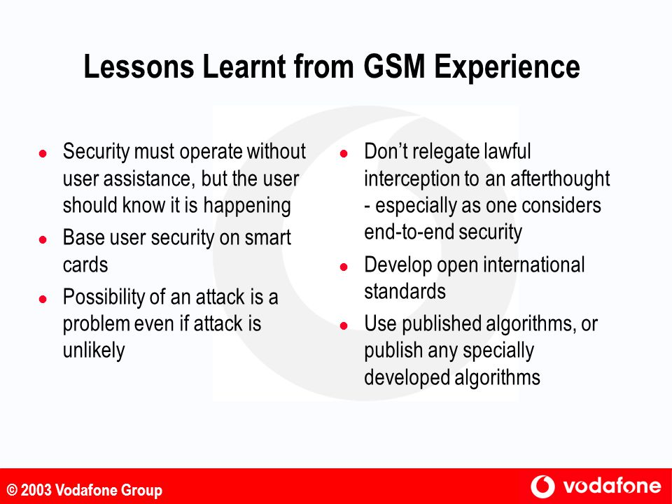 Lessons Learnt from GSM Experience