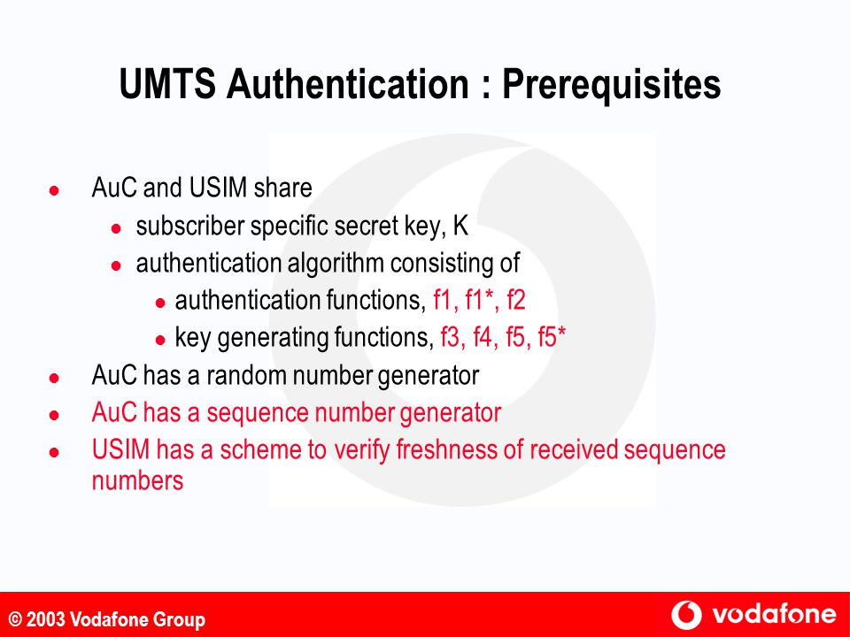 UMTS Authentication : Prerequisites