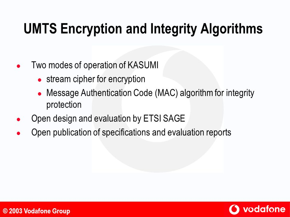UMTS Encryption and Integrity Algorithms