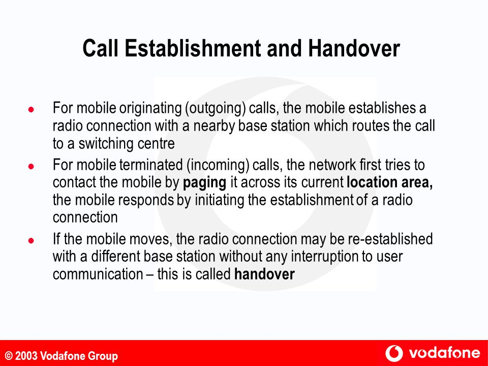 Call Establishment and Handover