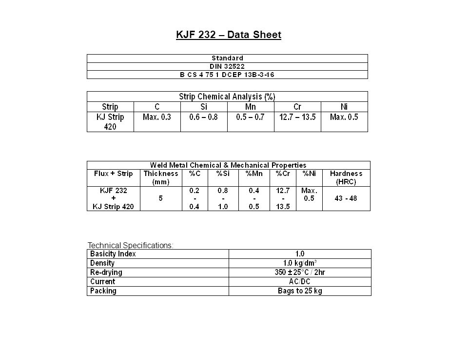 KJF 232 – Data Sheet Technical Specifications: