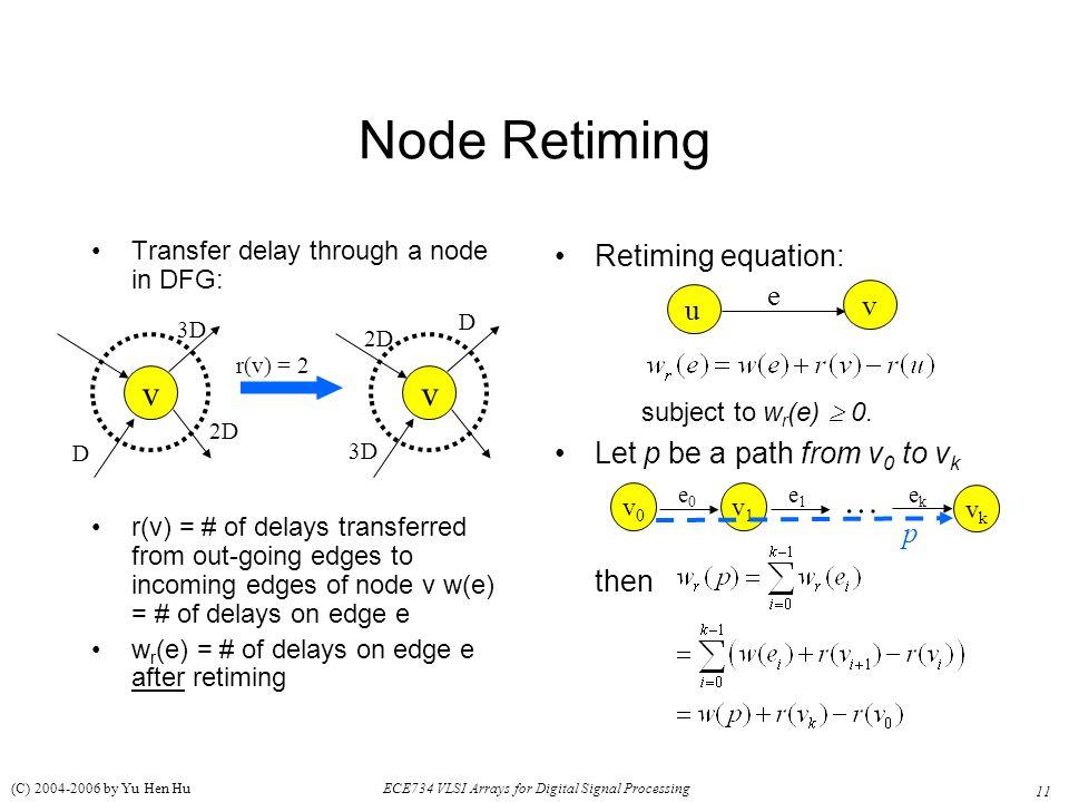 Node Retiming v v … Retiming equation: e v u