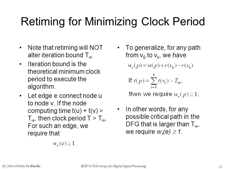 Retiming for Minimizing Clock Period