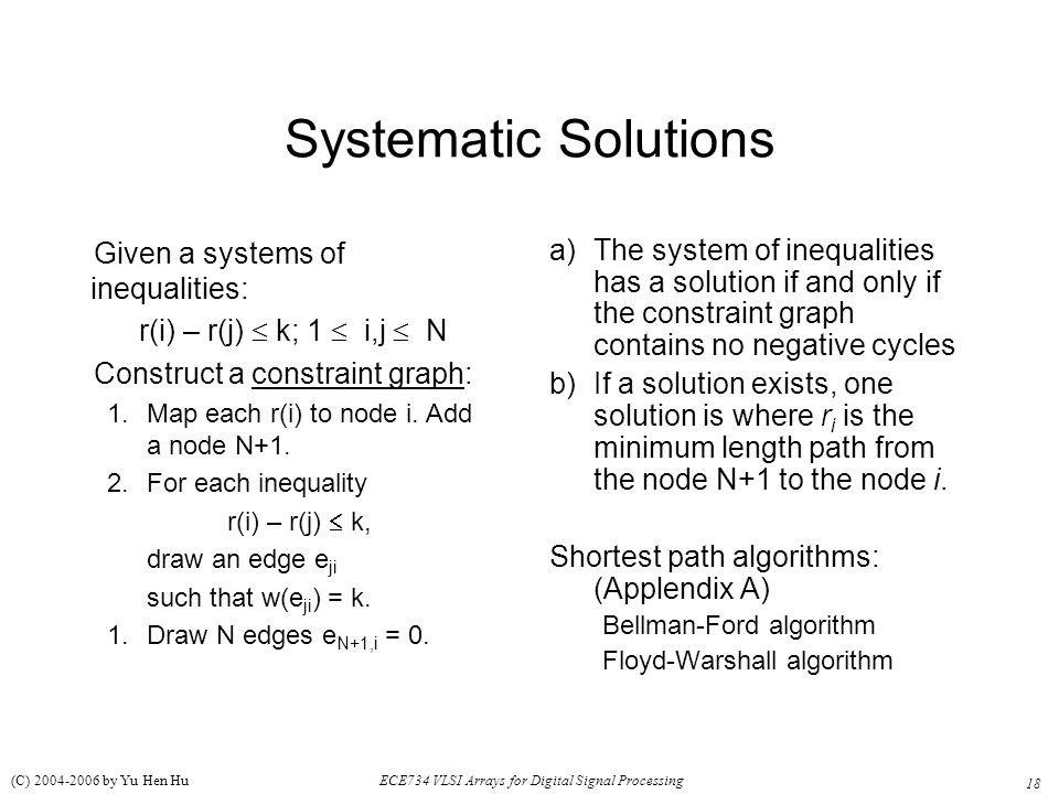 Systematic Solutions Given a systems of inequalities: