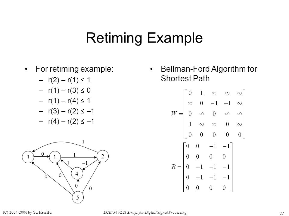 Retiming Example For retiming example: