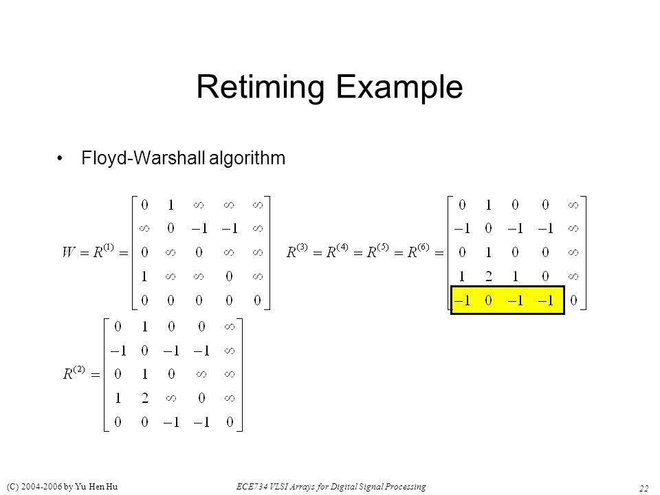 Retiming Example Floyd-Warshall algorithm (C) 2004-2006 by Yu Hen Hu