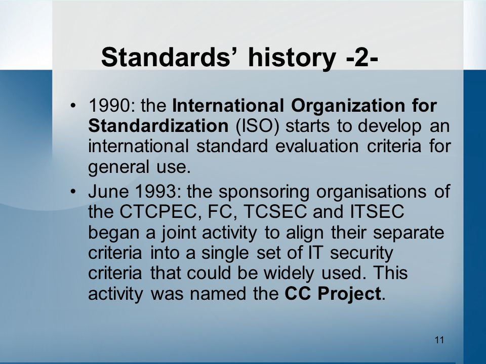 Standards' history -2-