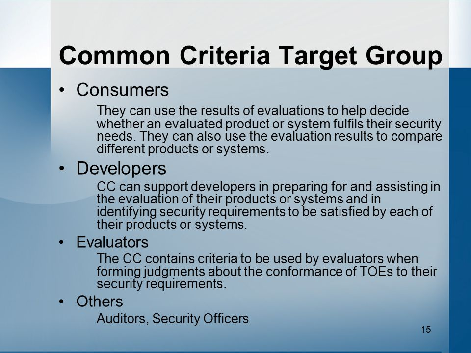Common Criteria Target Group