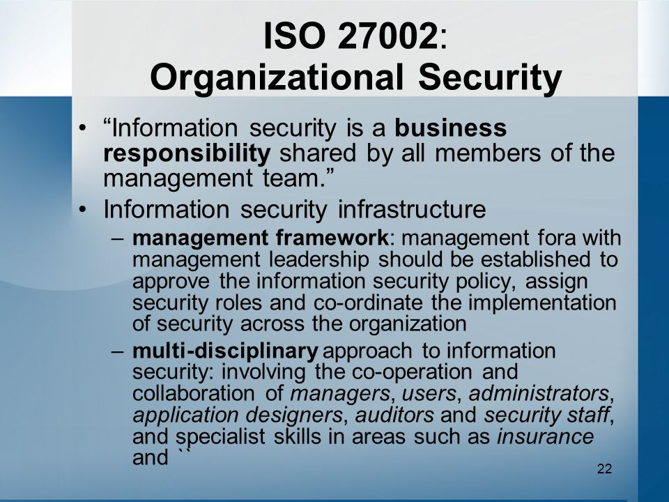 ISO 27002: Organizational Security