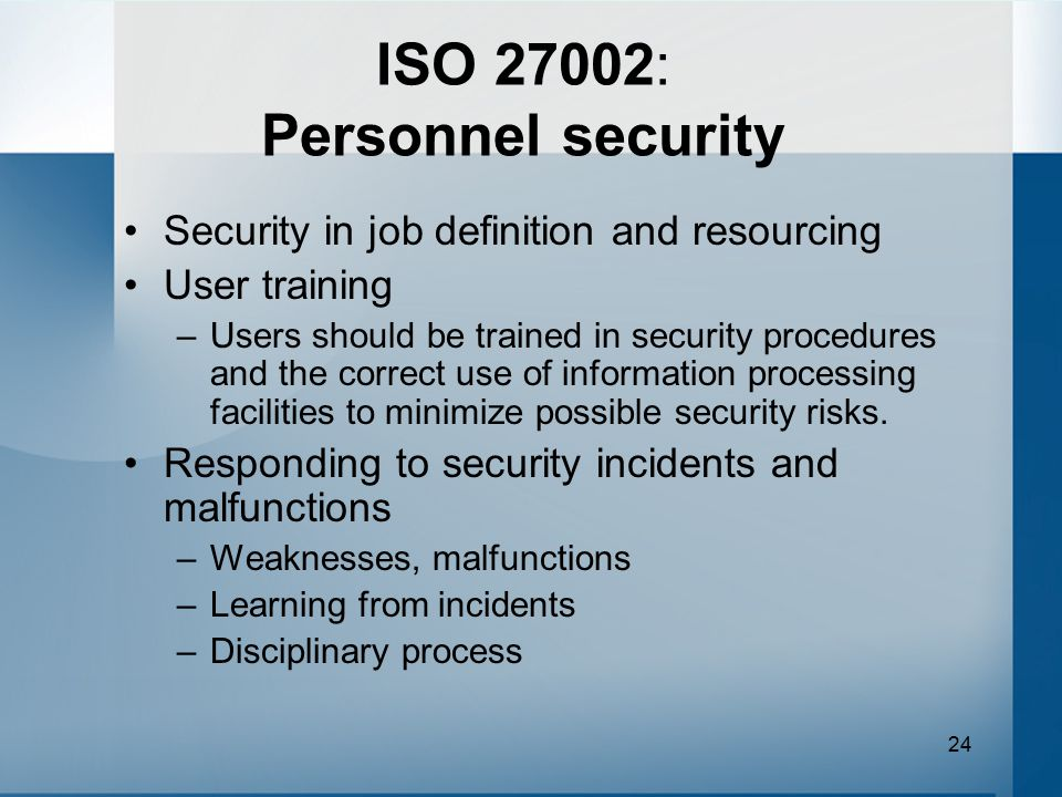 ISO 27002: Personnel security