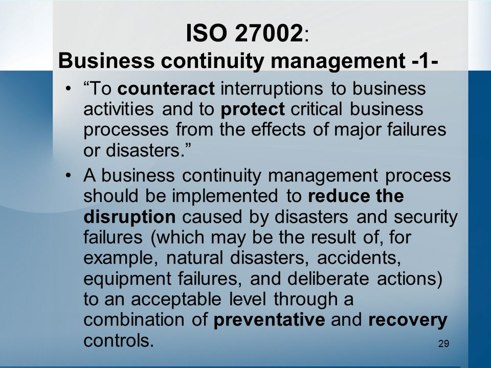 ISO 27002: Business continuity management -1-