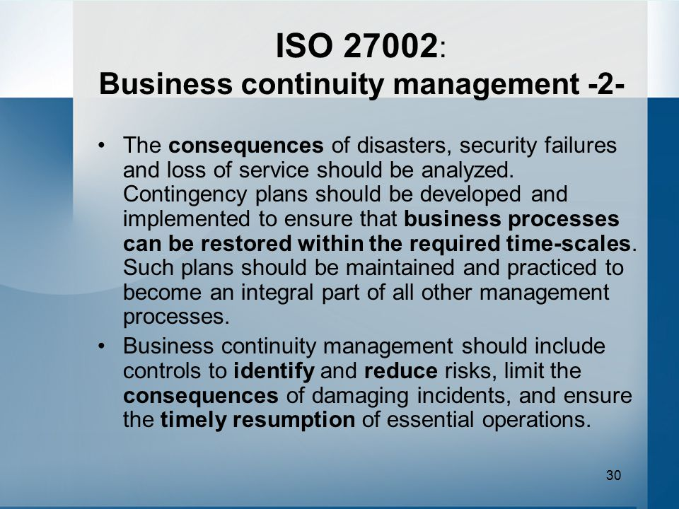 ISO 27002: Business continuity management -2-
