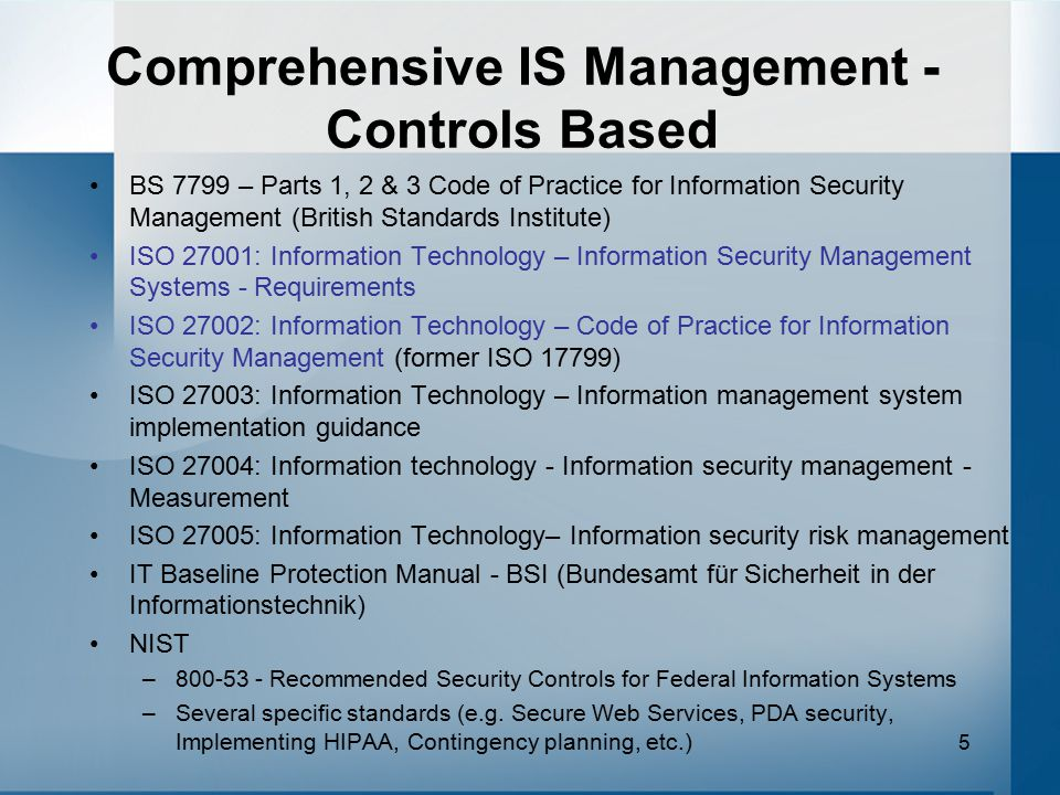 Comprehensive IS Management - Controls Based