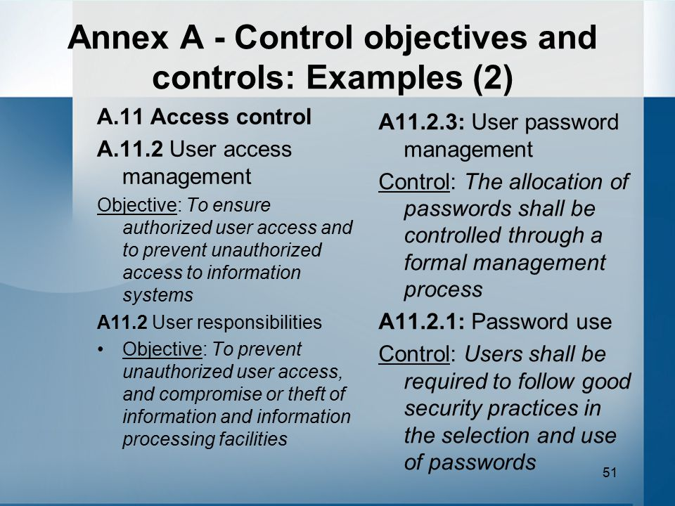 Annex A - Control objectives and controls: Examples (2)