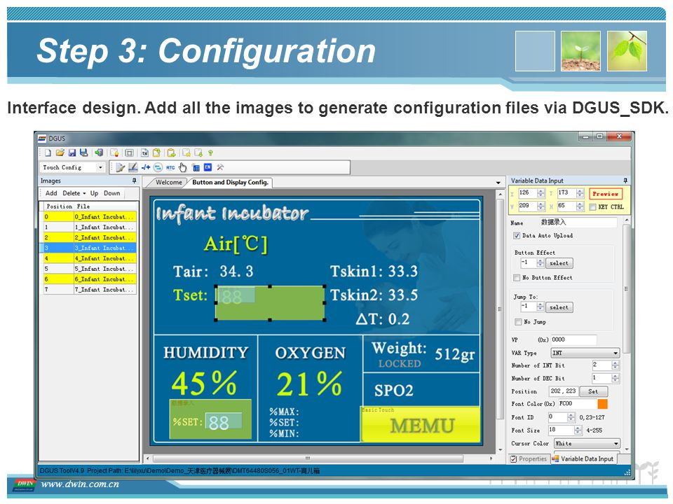 Step 3: Configuration Interface design.