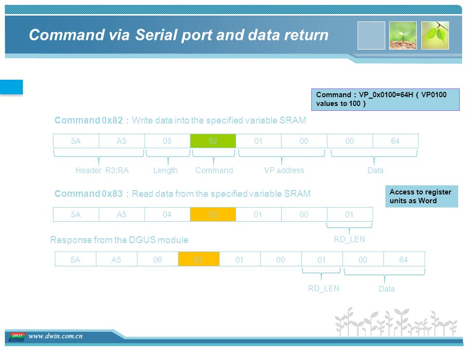 Command via Serial port and data return