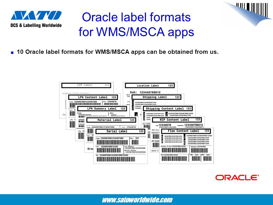 Oracle label formats for WMS/MSCA apps