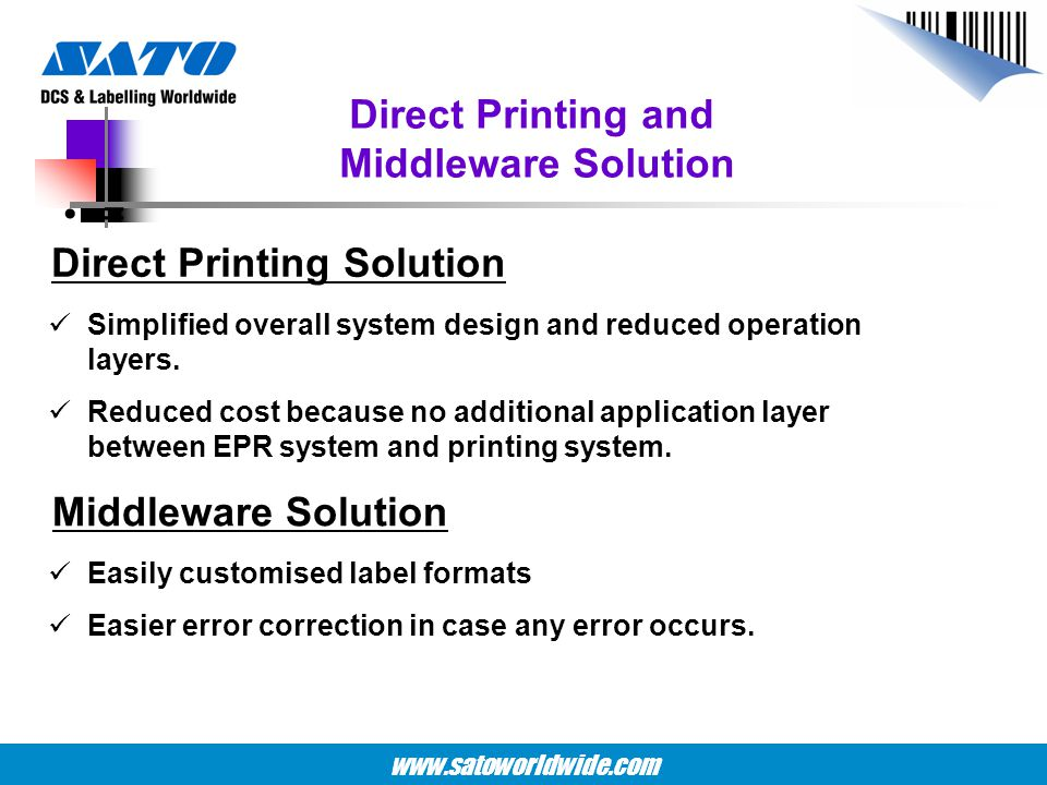 Direct Printing and Middleware Solution