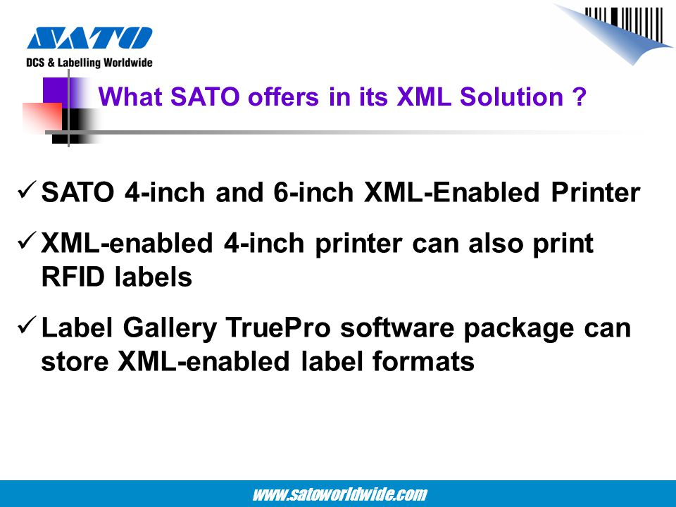 What SATO offers in its XML Solution